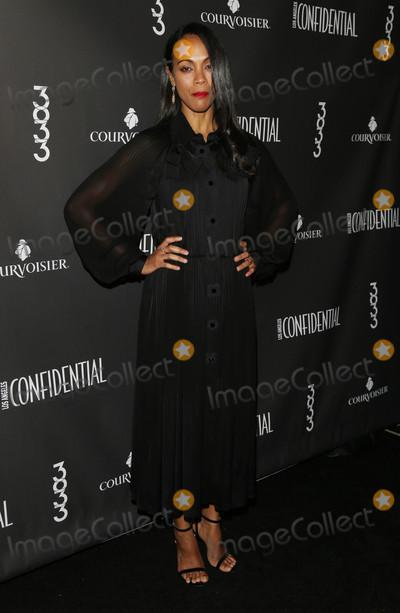 Photos From Zoe Saldana at Los Angeles Confidential's winter issue celebration with cover star Zoe Saldana