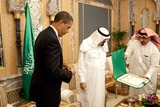 Abdullah bin Abdul Aziz Photo - Riyadh Saudi Arabia - June 3 2009 -- United States President Barack Obama looks at the King Abdul Aziz Order of Merit presented to him by King Abdullah bin Abdul Aziz of Saudi Arabia at the start of their bilateral meeting at the Kings Farm in Riyadh Saudi Arabia The medal is Saudi Arabias highest honorMANDATORY PHOTO CREDIT Pete SouzaWhite House-CNP-PHOTOlinknet