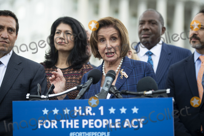 Photos From Speaker of the United States House of Representatives Nancy Pelosi (Democrat of California) offers remarks during a press conference on the For the People Act