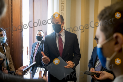 Photos From United States Senator John Thune (Republican of South Dakota) talks with reporters outside his office at the U.S. Capitol