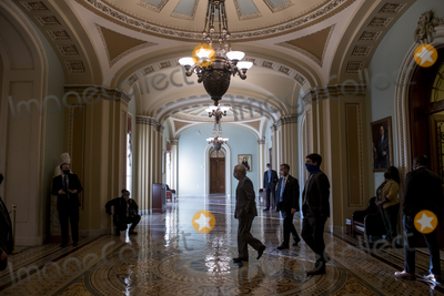 Photos From United States Senate Majority Leader Mitch McConnell (Republican of Kentucky) at the U.S. capitol as the Senate convenes.