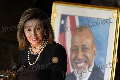 Nancy Pelosi Photo - Speaker of the United States House of Representatives Nancy Pelosi (Democrat of California) speaks during a Celebration of Life for US Representative Alcee Hastings (Democrat of Florida) in Statuary Hall on Capitol Hill in Washington Wednesday April 21 2021 Hastings died earlier this month aged 84 following a battle with pancreatic cancerCredit Susan Walsh  Pool via CNPAdMedia