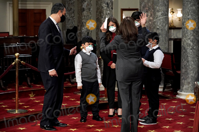 Alex Padilla Photo - Vice President Kamala Harris talks to six-year-old Diego Padilla prior to a ceremonial swearing in photo op with his father Sen Alex Padilla (D-Calif) on Thursday February 4 2021 in the Old Senate Chamber at the US Capitol in Washington DC Padilla was appointed by California Governor Gavin Newsom (D) who replaces Harris as she became Vice President on January 20thCredit Greg Nash  Pool via CNP