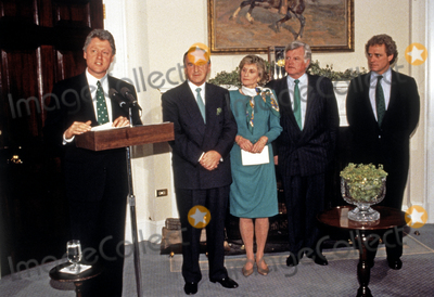Photo - Clinton Accepts a Bowl of Shamrocks from PM Reynolds of Ireland