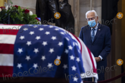 Photo - UNITED STATES - APRIL 13 United States Representative Bill Pascrell (Democrat of New Jersey) pays respects to US Capitol Officer William Billy Evans as his remains lie in honor in the Capitol Rotunda in Washington DC on Tuesday April 13 2021 Evans was killed when a driver rammed the north barricade of the Capitol on April 2 2021 Credit Tom Williams  Pool via CNPAdMedia