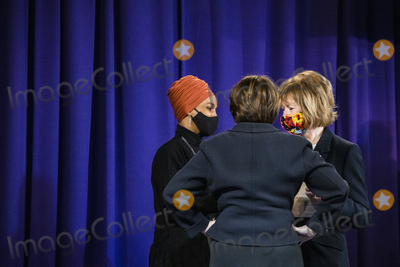 Ministry Photo - From left to right United States Representative Ilhan Omar (Democrat of Minnesota) US Senator Amy Klobuchar (Democrat of Minnesota) and United States Senator Tina Smith (Democrat of Minnesota) talk before Daunte Wrights funeral at Shiloh Temple International Ministries for the funeral of Daunte Wright in Minneapolis Minn US on Thursday April 22 2021 Wright was shot by police officer Kimberly Ann Potter who claims she thought she was deploying a taser when Wright attempted to flee as police attempted to place him under arrest for an outstanding warrant during a traffic stopCredit Samuel Corum  CNPAdMedia
