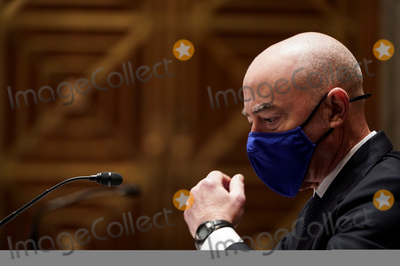Photo - Alejandro Mayorkas testifies during a Senate Homeland Security and Governmental affairs hearing on his nomination to be secretary of Department of Homeland Security (DHS) on Capitol Hill in Washington US January 19 2021 Credit Joshua Roberts - Pool via CNPAdMedia