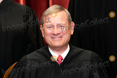 Group Photo Photo - Chief Justice of the United States John G Roberts Jr sits during a group photo of the Justices at the Supreme Court in Washington DC on April 23 2021  Credit Erin Schaff  Pool via CNPAdMedia
