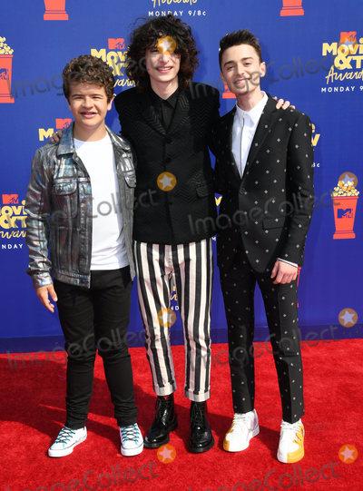 Photo - 15 June 2019 - Santa Monica California - Gaten Matarazzo Finn Wolfhard Noah Schnapp 2019 MTC Movie and TV Awards held at Barker Hangar Photo Credit Birdie ThompsonAdMedia
