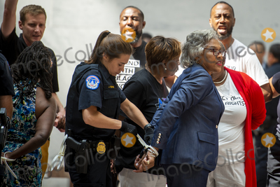 Photos From United States Representative Joyce Beatty (Democrat of Ohio) arrested during a protest for voting rights protest in the Hart Senate Office Building