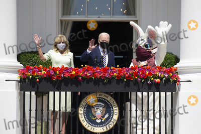 Jill Biden Photo - US President Joe Biden (C) waves beside First Lady Jill Biden (L) and the Easter bunny while delivering remarks regarding Easter on the Truman Balcony at the South Lawn of the White House in Washington DC USA 05 April 2021 The traditional Easter Egg Roll at the White House with thousands of visitors was not held due to the coronavirus COVID-19 pandemicCredit Michael Reynolds  Pool via CNPAdMedia
