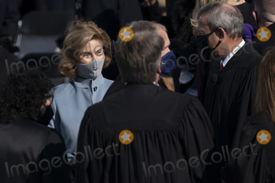 The Supremes Photo - Former first lady Laura Bush speaks with members of the Supreme Court at the Inauguration of Joe Biden as the 46th President of the US at the US Capitol in Washington DC on Wednesday January 20 2021  Credit Chris Kleponis  CNPAdMedia