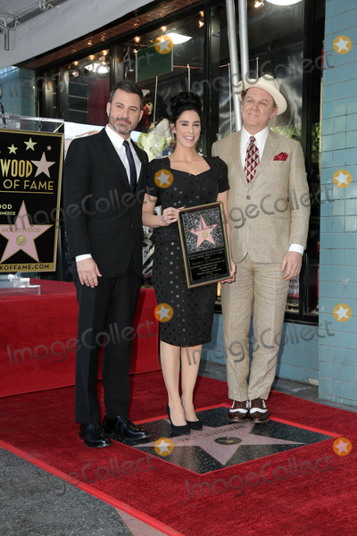Photo - LOS ANGELES - NOV 9  Jimmy Kimmel Sarah Silverman John C Reilly at the Sarah Silverman Star Ceremony on the Hollywood Walk of Fame on November 9 2018 in Los Angeles CA