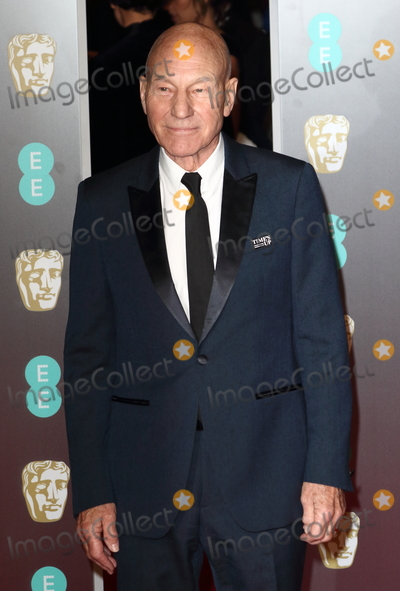 Photo - London UK  Sir Patrick Stewart at EE British Academy Film Awards 2018 - Red Carpet Arrivals at the Royal Albert Hall London on Sunday February 18th 2018 Ref LMK73 -J1591-190218Keith MayhewLandmark Media WWWLMKMEDIACOM
