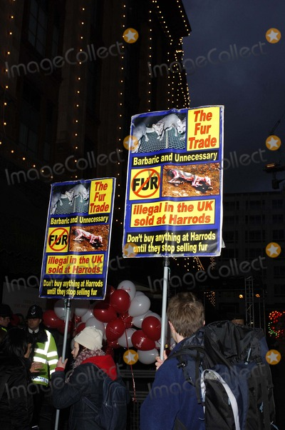 Anti-Fur Protestors Photo - LondonUK Anti fur protestors outside Harrods department store at the start of their sale 28th December 2007 Al KadinskyLandmark Media