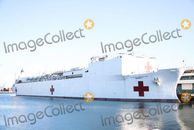 Photos From United States Navy Hospital Ship USNS Mercy Arrives At The Port Of Los Angeles
