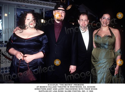 ANDY  LARRY WACHOWSKI Photo - 032499 the Matrix Premiere at Manns Village Theatre in Westwood CA Directors Andy and Larry Wachowski with Their Wives Supplied by Lisa RoseGlobe Photos Inc