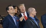 TI Photo - United States Representative Matt Gaetz (Republican of Florida) US President Donald J Trump and First lady Melania Trump attend game five of the World Series at Nationals Park in Washington DC on October 27 2019 The Washington Nationals and Houston Astros are tied at two games going into tonights game Credit Chris Kleponis  Pool via CNPAdMedia
