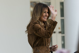 The National Photo - First lady Melania Trump waves after she and United States President Donald J Trump presented the National Thanksgiving Turkey in the Rose Garden of the White House in Washington DC on Tuesday November 26 2019Credit Chris Kleponis  Pool via CNPAdMedia