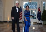 Adele Photo - David Malpass and Mrs Adele Malpass arrive for the State Dinner hosted by United States President Donald J Trump and First lady Melania Trump in honor of Prime Minister Scott Morrison of Australia and his wife Jenny Morrison at the White House in Washington DC on Friday September 20 2019 Credit Ron SachsCNPAdMedia