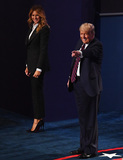 Presidential Campaign Photo - United States President Donald J Trump waves as he and his wife Melania Trump walk offstage after the first of three scheduled 90 minute presidential debates against Democratic presidential nominee Joe Biden in Cleveland Ohio on Tuesday September 29 2020 Credit Kevin Dietsch  Pool via CNPAdMedia