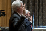 The Faces Photo - Former Assistant Director for Intelligence Federal Bureau of Investigation Kevin R Brock left and Investigative Journalist  Author Lee Smith right are sworn in as they appear before a Senate Committee on Homeland Security and Governmental Affairs hearing to examine Congressional oversight in the face of Executive Branch and media suppression focusing on the case study of Crossfire Hurricane in the Dirksen Senate Office Building in Washington DC Thursday December 3 2020 Credit Rod Lamkey  CNPAdMedia