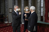 Alabama Photo - United States Senator Tommy Tuberville (Republican of Alabama) the former Auburn University football coach joined by his wife Suzanne Tuberville arrives to take the oath of office from Vice President Mike Pence during a reenactment ceremony in the Old Senate Chamber at the Capitol in Washington Sunday Jan 3 2021 Credit J Scott Applewhite  Pool via CNPAdMedia