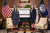 The Used Photo - United States Supreme Court nominee Judge Amy Coney Barrett (R) meets with US Senator Martha McSally (Republican of Arizona) (L) in the US Capitol in Washington DC USA 21 October 2020Credit Jim LoScalzo  Pool via CNPAdMedia
