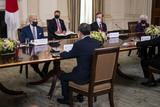 Joe Biden Photo - United States President Joe Biden hosts an expanded bilateral meeting with HE Suga Yoshihide Prime Minister of Japan during in the State Dining Room of the White House in Washington DC Friday April 16 2021 Credit Doug Mills  Pool via CNPAdMedia
