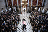 American Flag Photo - The American flag-draped casket of late United States Representative Elijah Cummings (Democrat of Maryland) is carried through National Statuary Hall during a memorial service at the US Capitol in Washington DC US on Thursday Oct 24 2019 Cummings a key figure in Democrats impeachment inquiry and a fierce critic of US President Donald J Trump died at the age of 68 on October 17 due to complications concerning long-standing health challenges Credit Al Drago  Pool via CNPAdMedia