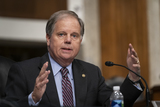 Alabama Photo - United States Senator Doug Jones (Democrat of Alabama) asks a question during a US Senate Senate Health Education Labor and Pensions Committee Hearing to examine COVID-19 focusing on an update on the federal response at the US Capitol on September 23 2020 in Washington DCCredit Alex Edelman  Pool via CNPAdMedia