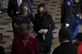 Alcee Hastings Photo - United States Vice President Kamala Harris right wears a protective mask as she walks with US Representative Debbie Wasserman Schultz (Democrat of Florida) left during a ceremony honoring late Representative Alcee Hastings in Statuary Hall at the US Capitol in Washington DC US on Wednesday April 21 2021 Hastings who was the longest serving member of Floridas Congressional delegation died on April 6 after announcing in 2019 that he was being treated for pancreatic cancer Credit Stefani Reynolds  Pool via CNPAdMedia