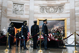 The Used Photo - US Capitol Police Honor Guard members rotate their positions as the late Officer William Billy Evans lies in honor in the Rotunda of the US Capitol in Washington DC on April 13th 2020Credit Anna Moneymaker  Pool via CNPAdMedia
