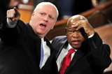 Barack Obama Photo - United States Representative Joseph Crowley (Democrat of New York) left points out a guest in the gallery to US Representative John Lewis (Democrat of Georgia) right as they await the arrival of US President Barack Obama to deliver his first State of the Union Address in the Chamber of the US House of Representatives in the US Capitol in Washington DC on Wednesday January 27 2010Credit Ron Sachs  CNP(RESTRICTION NO New York or New Jersey Newspapers or newspapers within a 75 mile radius of New York City)AdMedia