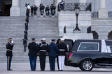 The Used Photo - The casket of US Capitol Police Officer William Evans is placed into a hearse by a joint service honor guard at the East Front of the US Capitol after lying in honor in the Capitol Rotunda in Washington DC USA 13 April 2021 A Tribute and Lying in Honor Ceremony took place for Officer Evans who was killed and another officer injured in the line of duty when a suspect rammed a vehicle at the North entrance of the Capitol 02 AprilCredit Michael Reynolds  Pool via CNPAdMedia