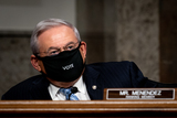 Foreigner Photo - United States Senator Bob Menendez (Democrat of New Jersey) Ranking Member US Senate Committee on Foreign Relations wears a  mask during at a Senate Committee on Foreign Relations hearing on US Policy in the Middle East on Capitol Hill in Washington DC on September 24 2020 Credit Erin Schaff  Pool via CNPAdMedia
