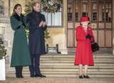 Coronavirus Pandemic Photo - 8th December 2020 - Prince William Duke of Cambridge Queen Elizabeth II Prince Charles Prince of Wales during an event to thank local volunteers and key workers for the work they are doing during the coronavirus pandemic and over Christmas in the quadrangle of Windsor Castle in Windsor Berkshire Photo Credit ALPRAdMedia