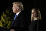Supremes Photo - United States President Donald J Trump makes remarks prior to Judge Amy Coney Barrett taking the oath of office to be Associate Justice of the Supreme Court outside the Diplomat Room of the White House in Washington DC US October 26 2020 Credit Ken CedenoPool via CNPAdMedia