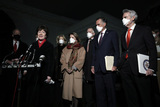 Jerry Moran Photo - United States Senator Susan Collins (Republican of Maine) makes a statement to the media along with fellow Republican US Senators after their meeting with US President Joe Biden and Vice President Kamala Harris about the American Rescue Plan in the Oval Office at the White House in Washington DC on February 1 2020  Pictured from left to right US Senator Jerry Moran (Republican of Kansas) Sen Collins US Senator Lisa Murkowski (Republican of Alaska) US Senator Shelley Moore Capito (Republican of West Virginia) US Senator Thom Tillis (Republican of North Carolina) US Senator Mitt Romney (Republican of Utah) and US Senator Rob Portman (Republican of Ohio)Credit Yuri Gripas  Pool via CNPAdMedia