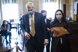 Cassidy Photo - WASHINGTON DC - FEBRUARY 12 Sen Bill Cassidy R-La walks with staff in the Senate Reception room on the fourth day of the Senate Impeachment trials for former President Donald Trump on Capitol Hill on Friday Feb 12 2021 in Washington DC Credit Jabin Botsford  Pool via CNPAdMedia