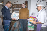 Cake Photo - Photo Must Be Credited Alpha Press 073074 19062020Prince William Duke of Cambridge is presented with a birthday cake by shop owner Paul Brandon (right) with member of staff Ted Bartram during a visit to Smiths the Bakers in the High Street in Kings Lynn Norfolk No UK Rights Until 28 Days from Picture Shot Date