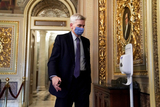 Cassidy Photo - Sen Bill Cassidy (R-La) is seen in the Senate Reception Room during the fifth day of the impeachment trial of former President Donald Trump on Saturday February 13 2021Credit Greg Nash - Pool via CNPAdMedia