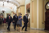 The Unit Photo - Amy Coney Barrett nominee for Associate Justice of the Supreme Court of the United States arrives with Vice President Mike Pence and White House Chief of Staff Mark Meadows at the US Capitol for a day of meetings with senators in Washington DC Tuesday September 29 2020Credit Rod Lamkey  Consolidated News PhotosAdMedia