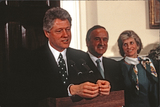 Jean Kennedy-Smith Photo - United States President Bill Clinton makes remarks as he participates in the annual presentation of a bowl of shamrocks honoring St Patricks Day with Taoiseach (Prime Minister) Albert Reynolds of Ireland in the Roosevelt Room of the White House in Washington DC on March 17 1993 During his remarks President Clinton announced he was naming Jean Kennedy Smith as US Ambassador to Ireland  From left to right President Clinton Prime Minister Reynolds and Jean Kennedy SmithCredit Martin H Simon  Pool via CNPAdMedia