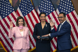 The Ceremonies Photo - Speaker of the United States House of Representatives Nancy Pelosi (Democrat of California) participates in the ceremonial swearing-in of United States Representative Kweisi Mfume (Democrat of Maryland) at the United States Capitol in Washington DC US on Tuesday May 5 2020  Credit Stefani Reynolds  CNPAdMedia