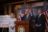 911 Photo - United States Senate Minority Leader Chuck Schumer (Democrat of New York) United States Senator Kirsten Gillibrand (Democrat of New York) and United States Senator Cory Gardner (Republican of Colorado) hold a press conference on Capitol Hill in Washington DC US on July 17 2019 calling for the passage of the 911 Victims Fund Photo Credit Stefani ReynoldsCNPAdMedia