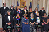 The Eagles Photo - The five recipients of the 39th Annual Kennedy Center Honors pose for a group photo following a dinner hosted by United States Secretary of State John F Kerry in their honor at the US Department of State in Washington DC on Saturday December 3 2016  The 2016 honorees are Argentine pianist Martha Argerich rock band the Eagles screen and stage actor Al Pacino gospel and blues singer Mavis Staples and musician James Taylor From left to right back row Ricky Kirshner Glenn Weiss Joe Walsh Don Henley Cindy Frey wife of Glenn Frey who passed away earlier this year and Timothy B Schmidt of the rock band The Eagles  and David M Rubenstein Chairman John F Kennedy Center for the Performing Arts  Front row left to right United States Secretary of State John Kerry Al Pacino Mavis Staples Martha Argerich James Taylor and Deborah F Rutter President of the John F Kennedy Center for the Performing ArtsCredit Ron Sachs  Pool via CNPAdMedia