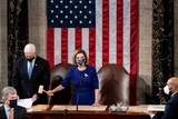 House Speaker Nancy Pelosi Photo - House Speaker Nancy Pelosi and Vice President Mike Pence preside over a Joint session of Congress to certify the 2020 Electoral College results on Capitol Hill in Washington DC on January 6 2020Credit Erin Schaff  Pool via CNPAdMedia