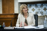 Alaska  Photo - United States Senator Lisa Murkowski (Republican of Alaska) speaks during a Senate Health Education Labor and Pensions Committee hearing in Washington DC US on Tuesday June 30 2020 Top federal health officials are expected to discuss efforts to get back to work and school during the coronavirus pandemicCredit Al DragoCNPAdMedia