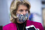 alaska Photo - UNITED STATES - FEBRUARY 9 Sen Lisa Murkowski R-Alaska is seen in the senate subway after the first day of the impeachment trial of former President Donald Trump in the Capitol in Washington DC on Tuesday February 9 2021 Credit Tom Williams  Pool via CNPAdMedia
